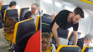A man yells racist insults at a woman sitting in the same row on a Ryanair flight, while a fellow passenger tries to intervene.
