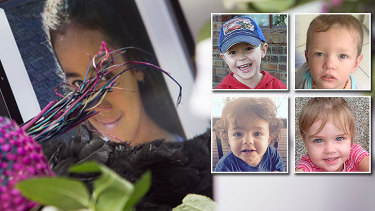The faces of slain Queensland children: Tiahleigh Palmer, Tyrell Cobb, Mason Lee, Hemi Goodwin-Burke, and Kyhesha-Lee Joughin.