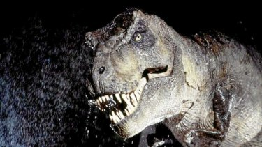 A raging Tyrannosaurus rex, as depicted in the 1993 movie Jurassic Park.