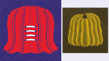 Devil is in the detail: pattern of behaviour from the Demons (illustration: Jim Pavlidis) and Yayoi Kusama's Pumpkin original.