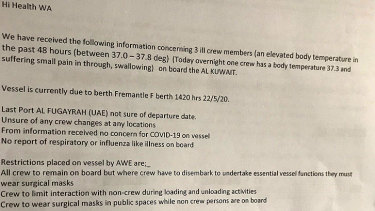 The email sent to WA Health on Friday states there were three ill crew members on board the Al Kuwait.