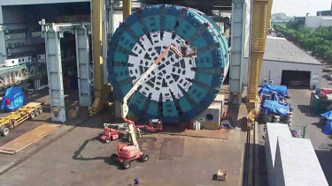 Massive tunnel-boring machine, Bella, will leave China next week to arrive in Melbourne in a month.
