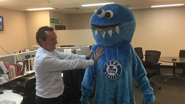 Mark McGowan with Labor's Debt Monster, used to promote its campaign against the Liberal's public debt in 2015.