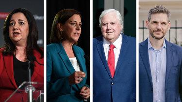 Premier Annastacia Palaszczuk, Opposition Leader Deb Frecklington, Clive Palmer, and Greens MP Michael Berkman.