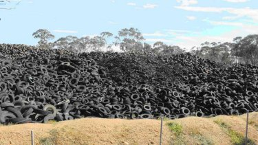 Victoria's Stawell tyre dump. Analysis shows a mandatory recycling scheme would add up to $4 to the price of a tyre.