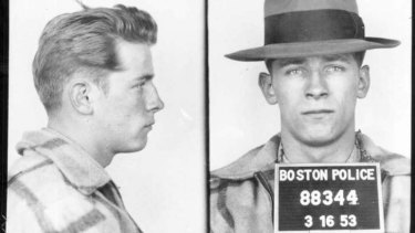 "This 1953 Boston police booking file photo combo shows James ""Whitey"" Bulger after an arrest."
