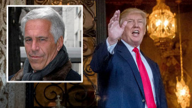 US President Donald Trump and convicted sex offender Jeffrey Epstein (inset) were friends.