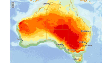 The daily maximum forecast temperatures for Friday show the extent of the heatwave across the south-east Australia.