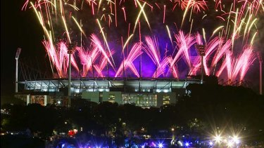 The MCG lights up during a major sporting event.