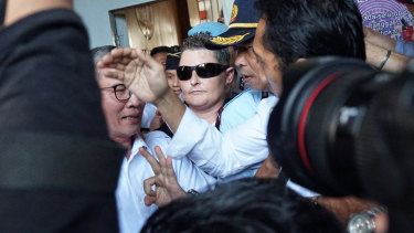 Renae Lawrence walks free from a Bali jail.