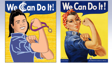 Starring role: Carlton's award-winning midfielder Madison Prespakis (left), and the original World War II poster produced by J. Howard Miller in 1943 for Westinghouse Electric.