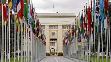 Flags of the world fly at the United Nations offices in Geneva, Switzerland.