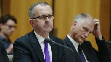 Electoral Commissioner Tom Rogers, left, during a Senate hearing.