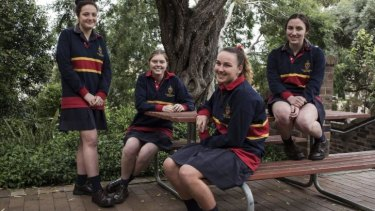 Inspired: the HSC modern history students from St Catherine's, Katie Murphy, Amy Thomson,  Francesca Earp and Brodie Clark.