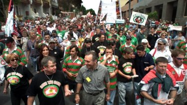 People power: More than 50,000 people marched from the South Sydney Leagues Club to the Town Hall to protest against the Rabbitohs exclusion from the NRL competition in 2000.