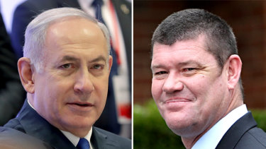Benjamin Netanyahu (left) allegedly received gifts from, among others, Australian billionaire James Packer (right) in return for favours.