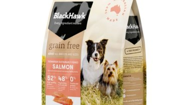 Black Hawk Grain Free Salmon dog food.