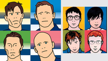 Crafty Cats: A quartet of enviable AFL talent (illustration: Jim Pavlidis), and pop stars Blur, by Julian Opie.
