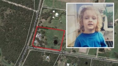 The three-year-old girl went missing on her grandparents' property at Cootharaba on the Sunshine Coast.