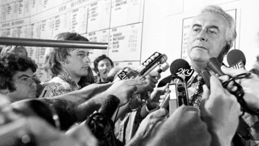 Gough Whitlam on election night, 1975. This image was released by the National Archives of Australia.