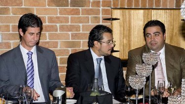 Malaysian prince Tunku Mohamed Alauddin (centre) with then Fairfield councillor Frank Oliveri (left) and Labor MP Joe Tripodi (right).