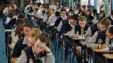 Heads down: Students at Thornbury High School sit the VCE English exam.