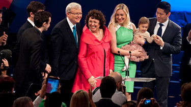 Kevin Rudd with wife Therese Rein on stage with their children Marcus, Nicholas and Jessica as well as Jessica's husband Albert Tse and their baby Josephine at the ALP 2013 federal election campaign launch.