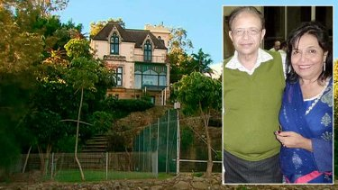 The mansion where Shahnaz Qidwai, picture with her husband Dr Khalid Qidwai, was found dead.