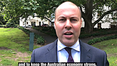 Josh Frydenberg in his video attacking Labor's negative gearing policy.