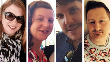 Left to right: Sydney mother Cindy Low, and Canberra visitors Kate Goodchild, her brother Luke Dorsett, and his partner Roozi Araghi were all killed at Dreamworld in 2016.