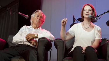 Bob Hawke and Julia Gillard answer questions at the Woodford Folk Festival in 2012.