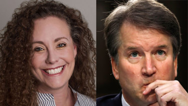 Julie Swetnick (left) has accused Supreme Court nominee Brett Kavanaugh (right) of excessive drinking and aggressive behaviour towards women.