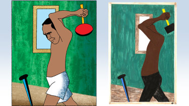 AFL great Eddie Betts (illustration: Jim Pavlidis), and a Jacob Lawrence original from the Migration series.