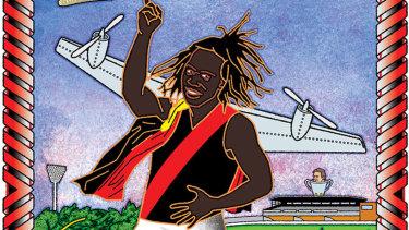 Illustration of Essendon star Anthony McDonald-Tipungwuti by Jim Pavlidis.