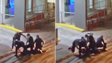 Screenshots from the video footage of the arrest of a 16-year-old boy in a Byron Bay laneway.