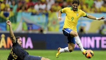 Transfer target: Brazil's Alexandre Pato in action against the Socceroos in 2013.