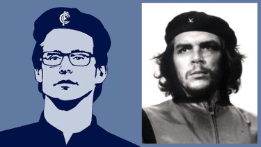Commanding respect: Carlton coach David Teague in the style of Alberto Korda's iconic image of Che Guevara. (Illustration: Jim Pavlidis)