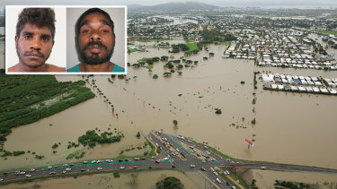 Hughie Morton (pictured left) andTroy Mathieson (pictured right) were last seen near a flooded area in Townsville.
