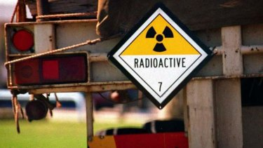 A sign on a truck transporting waste from the Lucas Heights nuclear reactor to South Australia.