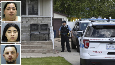 Police watch over a house in Chicago where Marlen Ochoa-Uriostegui's body was found. Insets from top: Clarisa Figueroa, her daughter Desiree Figueroa and her boyfriend Piotr Bobak, who have all been charged.