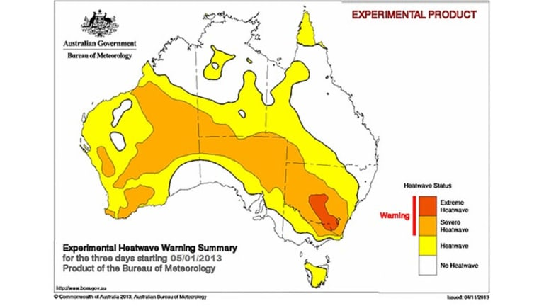 Pilot view of how the Bureau of Meteorology's heatwave index would have looked for January 5-7 2013.