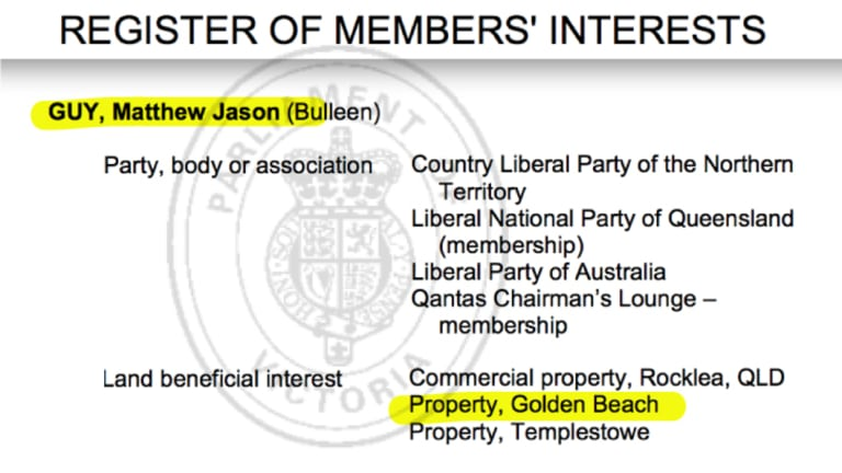The official Register of Members' Interests shows that Matthew Guy owns a property at Golden Beach.