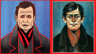 John Worsfold, left, and a Stephen Lowry original The Man With Red Eyes, 1938.