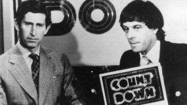 Ian 'Molly' Meldrum with Prince Charles in a famous 1977 <i>Countdown</i> episode.