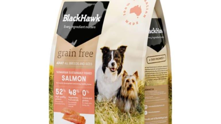 Black Hawk Grain Free Salmon dog food.