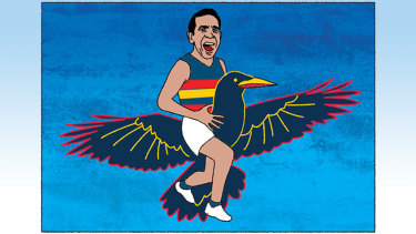 Adelaide's Eddie Betts could be winging his way to Carlton. Illustration: Jim Pavlidis