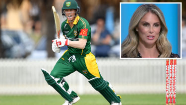 "David Warner playing for Randwick Petersham and his wife Candice Warner claiming on  Channel Nine's Sports Sunday program (inset) that he left the field during a grade game because of ""very hurtful"" comments directed at her husband."