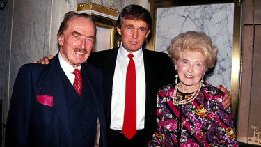 Fred Trump and his wife, pictured with son Donald Trump (centre) in 1992.