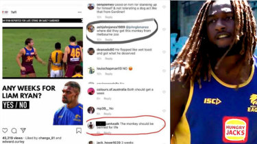 Nic Naitanui posted a screenshot with the offensive comments on his Twitter account.