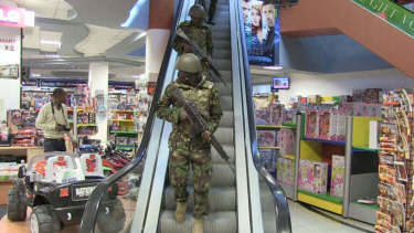 Military forces taking position inside the Westgate mall in Nairobi in 2014.